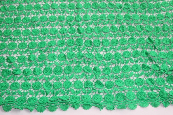 Cheap Good Quality Green Guipure Lace Fabric In Stock 4 Meters Polyester Chemical Lace Embr for sale