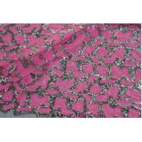 Quality Pink Leopard Pattern 3MM silver sequin Embroidered Fabric Lace wholesale