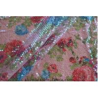 Quality New! Lace Ground Iridescent Transparent Sequin Embroidery Floral Printed Fabric wholesale
