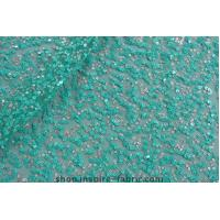 Quality In Stock Sequin Embroidery Green Paillette Sequin Embroidered Spangle Net Lace Fabric wholesale