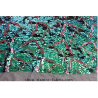 Quality Fashion! Iridescent 7mm Green Sequin Embroidery Fabric On Net Fabric For Dancewear wholesale