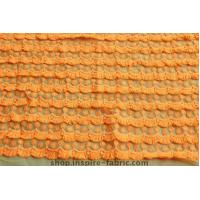 Quality Promoting! Bright Orange Eyelash Lace Embroidery On Net Fabric 120Cm Width wholesale