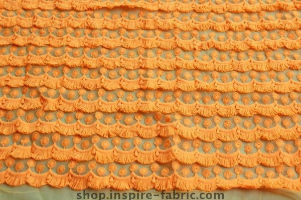 Cheap Promoting! Bright Orange Eyelash Lace Embroidery On Net Fabric 120Cm Width for sale