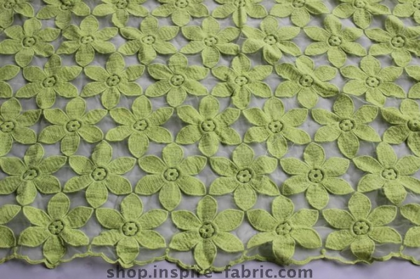 Cheap Green Leaves Organza Embroidery For Ladies Apparel Cotton Lace Fabric 120CM Width for sale