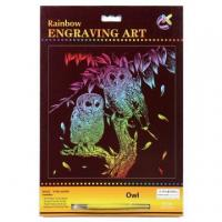 China Engraving Art Kits Kid Engraving Rainbow Owl Foil Drawing Kit on sale