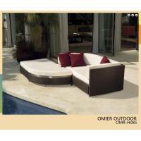 Buy cheap outdoor garden PE rattan sofa bed with footstool OMR-H085 from wholesalers