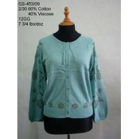 Quality Ladies' Cotton/Viscose Knitted Cardigan wholesale