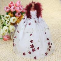 Quality Wedding Gown Princess Embroidered Flower Dress Scarf Gloves For Barbie Dolls 2# - White wholesale