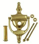 6 Inch Tall Solid Brass Traditional Door Knocker with Viewer