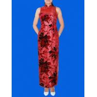China Red red rose burn-out silk velvet qipao dress on sale