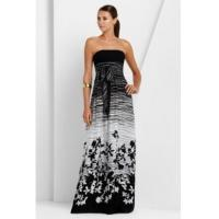 Quality BCBGMAXAZRIA Black White Strapless Maple Leave Long Dress wholesale