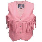 China Ladies Pink Leather Vest with fringe and Braid  Sizes XS to 3XL on sale