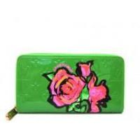 China Louis Vuitton Monogram Rose Vernis Zippy Wallet Green on sale