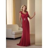 China Stylish Column Scoop Chiffon Dress for Bridal Mother with Beading on sale