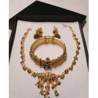 China 24K Gold plated necklace set with colored stones - ON SPECIAL !! on sale