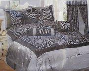 China Grey / Black Zebra Faux Silk Flock Printing Comforter Set Bedding-in-a-bag on sale