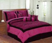 China Pink / Black Zebra Faux Silk Flock Printing Comforter Set Bedding-in-a-bag on sale