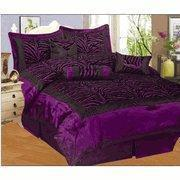 China Purple / Black Zebra Faux Silk Flock Printing Comforter and Curtain Set Bedding-in-a-bag on sale