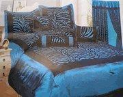 China Blue / Black Zebra Faux Silk Flock Printing Comforter Set Bedding-in-a-bag on sale
