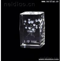 China A bouquet of roses-Square 3D Laser Crystal on sale