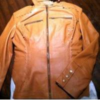 China Ladies Cutwork Biker Leather Jacket Hand Stitched - Clearance* on sale