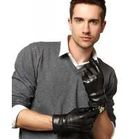 China Men's Italian Cashmere Lined Leather Gloves With Black Fur Cuff on sale