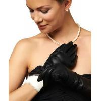 China Italian Rabbit Fur Lined 6-Button Length Leather Gloves on sale