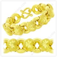 Quality 5 Baht Sparkling Polished Diamond-Cut Hollow Heart Donut Link Chain Bracelet in 23k Thai Yellow Gold wholesale