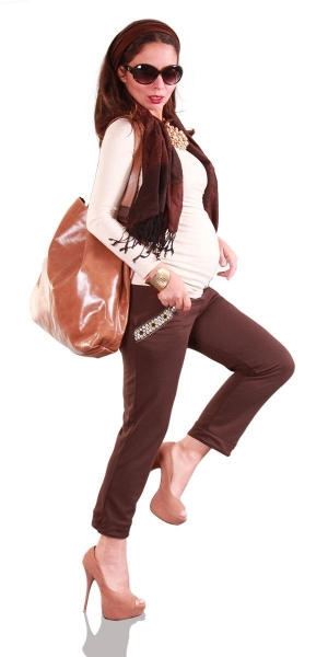 Cheap Maternity Trousers Work Day Wear Matrix Cropped Cigarette for sale