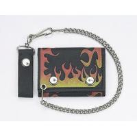 China Biker Trifold Chain Wallet w/Flames on sale