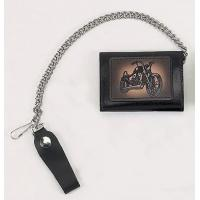 China Biker Trifold Chain Wallet w/Motorcyle on sale