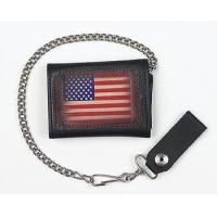 China Biker Trifold Chain Wallet w/USA Flag on sale