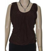 Quality Split Shoulder Size LARGE 12/14 Womens Clothing Dark Brown Blouse O Ring Top wholesale
