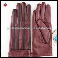 Quality 2016 Red women sheepskin shell acrylic lining leather gloves factory price wholesale