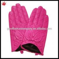 China ladies Coquettish pink Leather Gloves on sale