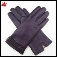 China Women's cashmere lined leather gloves with shedding cuff on sale