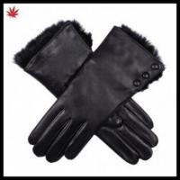 China Ladies fashion high quality rabbit fur lined leather glove with buttons on sale