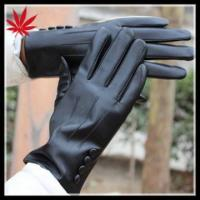 China High fashion ladies black leather gloves with buttons on sale