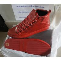 China Men shoes Balenciaga Arena High top lace up Sneakers yeezy Red Men Fashion Leather shoes on sale