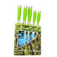 Quality knife set with soft touch handle and plastic stand. wholesale