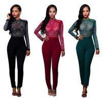 Buy cheap Long Sleeve Rhinestone Mesh Bodice Jumpsuit In Autumn from wholesalers