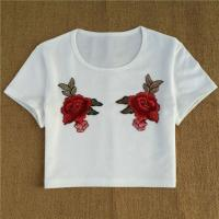 China White Ribbed Knit Crop T Shirts With Flower Embroidered Top In 2017 Summer on sale