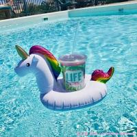 Quality Promotional floating unicorn cup holder inflatable unicorn cup drink holder wholesale
