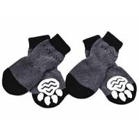 Quality Dog Socks Traction Control Anti-Slip for Hardwood Floor Indoor Wear, Paw Protection Grey wholesale