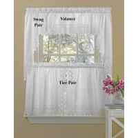 China White Eyelet Kitchen Curtains on sale
