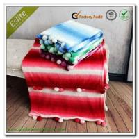 Quality Polyester Colourful Pom Pom Throw Ombre Printed Flannel Fleece Blanket Throw wholesale