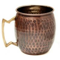 Quality Antique Copper Plated Curved Moscow Mule Mug - Hammered 550ml Item Code:MUGS0003 - AT wholesale