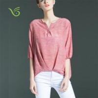 Quality Women Tops 2016 Hot Sale Summer Women V Neck Printed Blouse Top wholesale