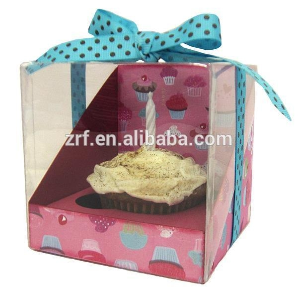 Cheap Individual Colored Lovely Cardboard Cupcake Packaging Boxes With Window for sale