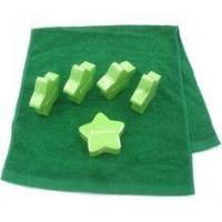 China Hygiene Compressed Terry Cotton Hotel Face Towel Lime Green Stars Pattern on sale
